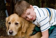 Autistic child with dog